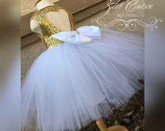 Birthday Dress - Gold Sequin Dress - Purple Gold White Girl Dress - Gold Dress - Baptism Dress - Ellie Dress by Zulett Couture