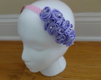 Elegant Satin Flower Headband with Rhinestone Accents