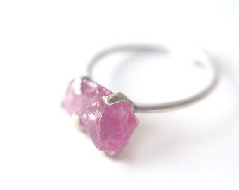 Raw stone sterling silver ring, magenta gemstone ring, vivid pink stone ring, energy ring