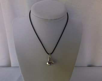 Vintage Hershey's Kiss Necklace or Choker, Silver Hershey's Kiss Pendant on a Black Cord, you adjust the length, Great Condition