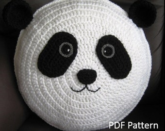 My cute Panda Cushion - PDF Crochet Pattern // A Pillow that makes you smile // Baby shower gift // Animal pillow