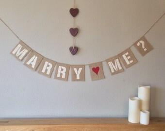 Wedding Proposal Marry Me Engagement Bunting Banner Vintage Hessian Burlap