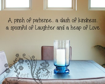 A pinch of patience... - Family wall Decals - Wall Decal - Wall Vinyl - Wall Decor - Decal - kitchen wall decal - fun kitchen sayings