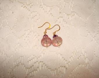 Lavender Facet Glass Bead Dangle Earrings