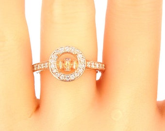 14K Rose Gold Diamond Engagement Ring Art Deco Antique Deisgn Classic Halo Infinity Design Wedding Ring Yellow Gold White Gold