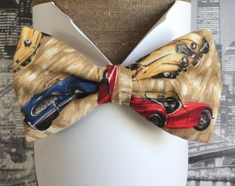 Bow Tie, Bow Ties For Men, Classic Cars on a Beige Background Cotton, Pre Tied Bow Tie