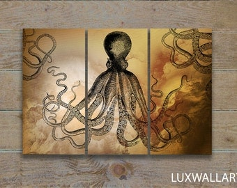 Smokey Octopus Wall Art Triptych