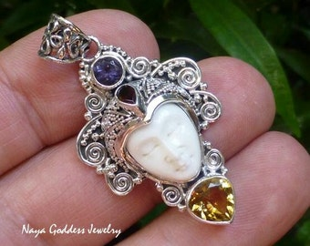 Silver and Mixed Gemstone Carved Bone Goddess Pendant NG-1268