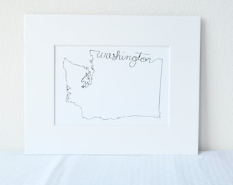 Washington Art Print State Outline, 5x7 Print in 8x10 White Mat Board