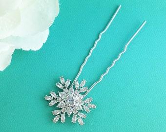SNOWFLAKE Hair Pin, bridal hair accessories, rhinestone hairpin, snow flake bridal hair, bridal hairpins, wedding hairpins