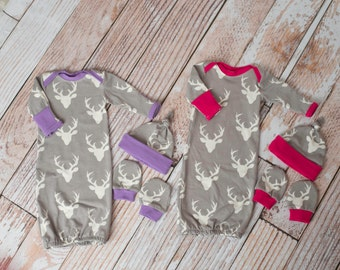 Twin Girls Woodland Deer Baby Gown, Mitts, and Hat Baby Shower Gift/ Hunting Baby Gown/ Deer/Buck Baby Gown Purple