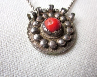 old kabyl necklace . silver coin and mediteranean coral