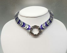Unisex BDSM Slave Collar, Scale Maille Submissive O Ring Day Collar, Colors Available