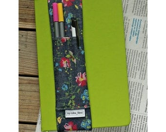 MTO Notebook pen holder - Denim/flowers