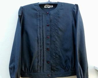 Hanae Mori Button Black Top, Vintage Japanese Designer, Shirt,Secretary Blouse, M/L