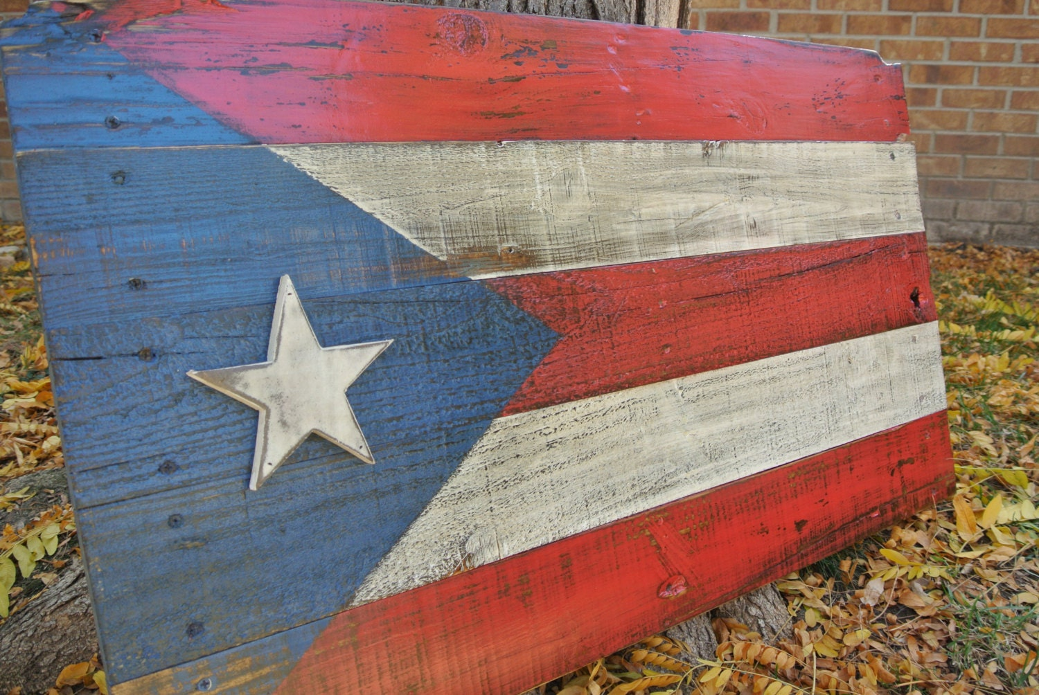 Rustic Puerto Rico Flag, reclaimed wood, pallet wood, distressed,  weathered, home - Reclaimed Wood Flag Etsy