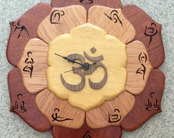 Yoga Lotus Flower Clock wooden for Anyone that loves Yoga. Lotus Namaste. 12 poses. Om Spiritual Meditation Pilates Buddhist Hindu Zen