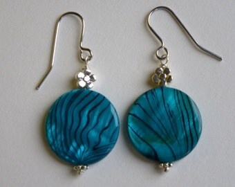 Turquoise colour shell earrings with surgical steel earring hooks. Best friend's gift, mum's gift, daughter's gift.