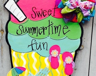 ice cream sign, ice cream soda sign, ice cream soda door hanger, beach door hanger, beach sign, welcome summer sign, flip flop sign, summer