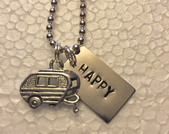 Happy Camper Hand Stamped Metal Necklace with Camper Charm