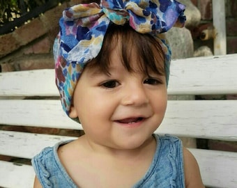 Blue watercolor hearwrap-blue tied baby turban-tied girls turban-gauze adult turban-summer headwrap-girls headwrap