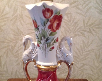 Vintage swan lamp, lamp gold and white handles, red roses lamp, romantic table lamp