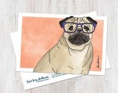 Cute Pug Wearing Glasses ...