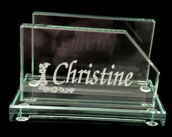Glass Business Card Holder Personalized Engraved Desk Accessory
