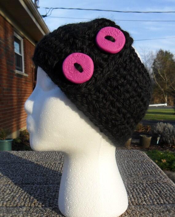 Crochet Ear Warmer Pattern Bulky Yarn : Ear warmer crochet black super bulky Lion Brand USA yarn and