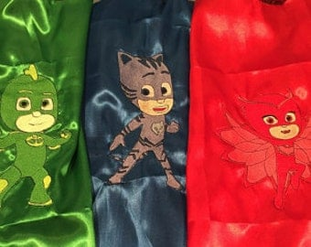 PJ Mask super Hero capes blue cat boy, makes a great gift for Birthdays,  & great for costumes!! Free name added