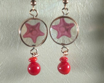 Starfish copper and resin hanging earrings