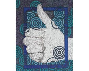 Thumbs Up Card - Blank 5x7 Greeting - Congrats Card - Congratulations - Modern Stationery - Graduation Card - Card For Him - Good Job - Blue