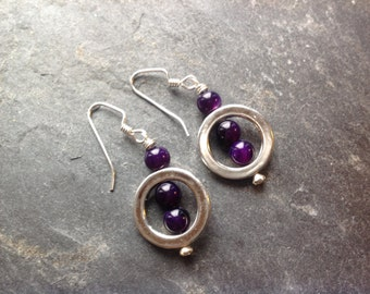 Purple Agate Sterling Silver Ear Wires