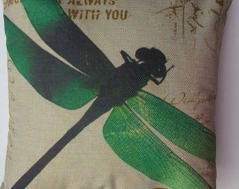 Green Dragonfly - Pillow Cover