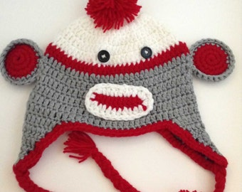 Red Sock Monkey Crochet Kids Hat