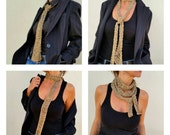 Skinny gold scarf,  golden accessories, women scarves, skinny knit scarves, skinny scarf, infinity scarves, gold trends, fall/winter trends