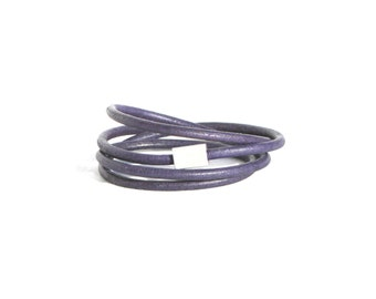 Leather Bracelet Magnetic Clasp Midnight Purple Blue