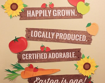 Farmers Market Birthday Party - Party Signs - Digital file, Personalized, Matching, Farm Party, Garden Party, Fruits, Flowers