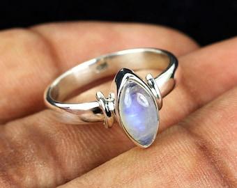 Rainbow Moonstone Ring, Rainbow Moonstone, Rainbow Ring, Moonstone Ring, 925 Sterling Silver, Handmade Plain Ring, 925 Silver Ring, Gemstone
