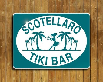 Tiki Bar sign, personalized on solid, weatherproof aluminum