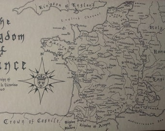 Medieval France map, hand-drawn