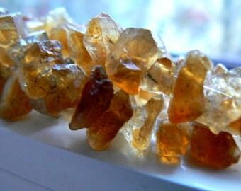 Raw citrine crystals gemstone  7-11mm beads- 6in strand - Raw yellow stone beads- Jewelry beads supply- Gemstone rough citrine beads
