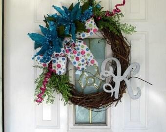 Monogrammed Christmas Wreath for Front Door, Christmas Wreaths, Door Wreath, Holiday Wreath, Turquoise Poinsettias, Christmas Decor