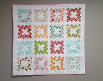 Granny Squared - floral inspired quilted wallhanging