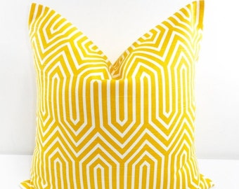 On Sale Yellow Pillow  Cover. Corn yellow  and White Pillow Cover.Trail.  Pillow cover.  Sham Pillow case. Select your size.