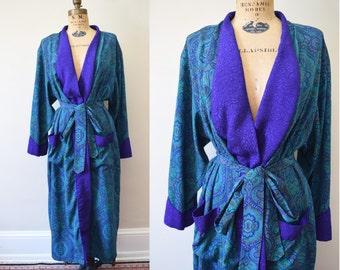 80s Victoria's Secret Paisley Pajama Robe  // S M L