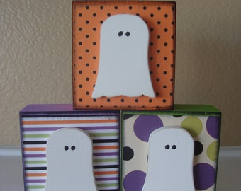 Wooden Halloween Ghost Blocks. Mini Halloween blocks. Halloween decor. Halloween home decor