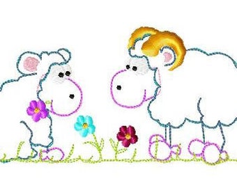 Embroidery file Doodle sheep pair for frame 13 x 18 / 17 x 20 and 18 x 30 embroidery file embroidery sheep