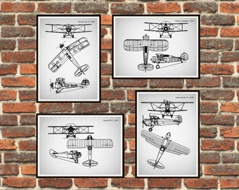 Set of 4 prints, Biplanes prints Schematic Print, Gray, Gloster-Gladiator, Heinkel, Kawasaki, Vought, Airplanes print *12*