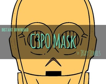 C3PO Photobooth Mask Star Wars Silhouette SVG File For Die Cut Vinyl Machines and Crafts